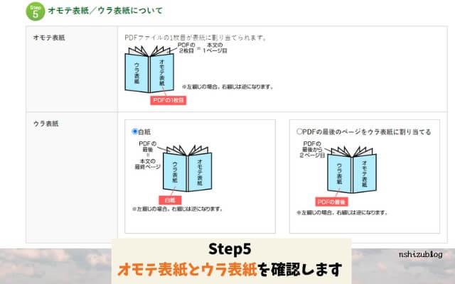 Step5オモテ表紙/ウラ表紙について確認します